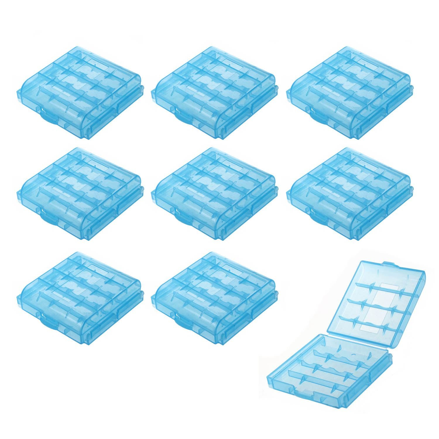 SODIAL(R) Pack of 9 PCS AA / AAA Battery Storage Hard Case Box-Blue 044825C5