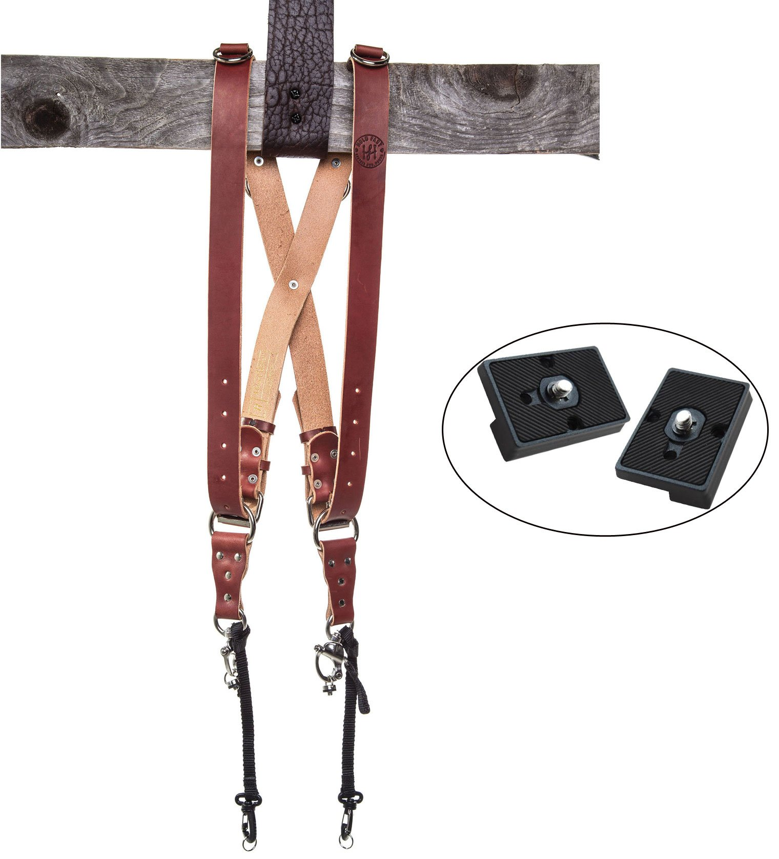 Holdfast Gear Money Maker Multi-Camera Harness, Bridle Leather Chestnut (Medium) and Two Ivation Replacement Plates For The Manfrotto RC2 Rapid Connect Adapter