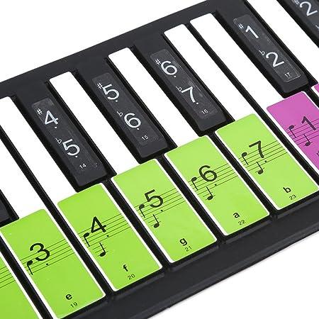 Pegatinas de teclas blancas extraíbles 88 llaves piano electrónico etiquetas de teclado para principiantes, Colorful