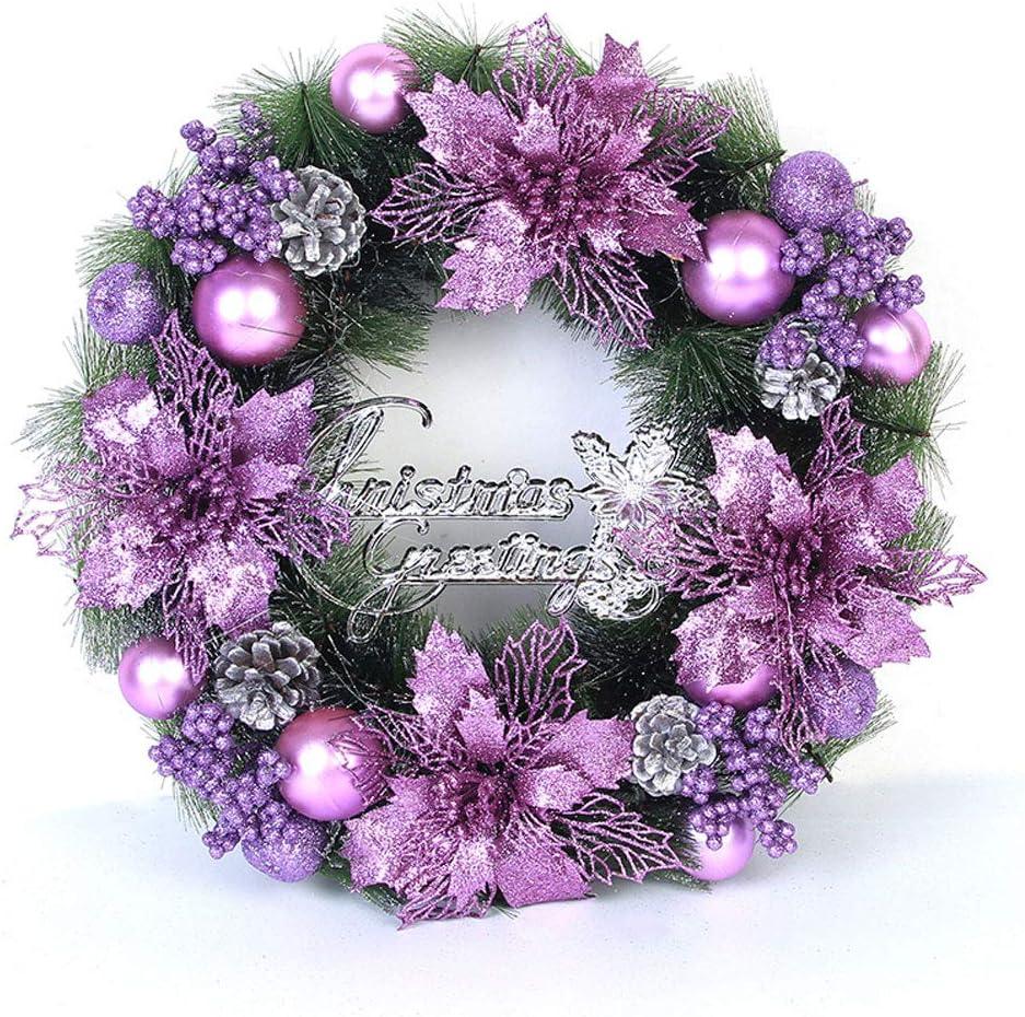 Christmas Decorations Christmas Wreath 40 CM//Silver//Gold//Red//Purple HARVESTFLY Xmas Garland