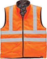 Mens Dickies Hi Viz Reversible Quilted Bodywarmer Waistcoat Gilet Visibility Rail Recovery Auto Repair Garage Warm Railway Reflective Stripes Tape Work Safety Top EN471 Orange Security SA7002