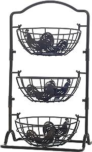 Gourmet Basics by Mikasa Rooster 3-Tier Metal Fruit Storage Countertop Basket, Antique Black