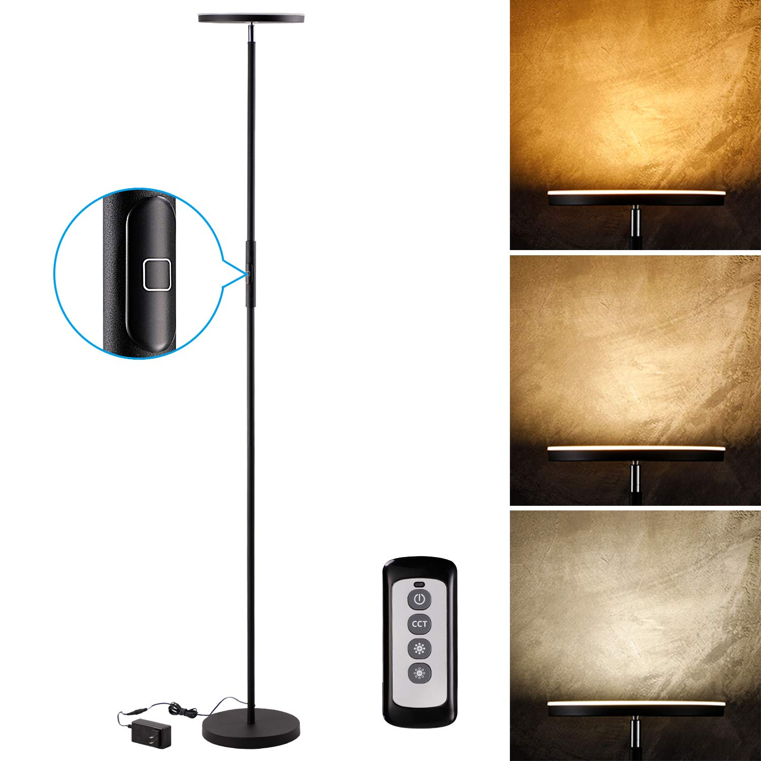LEONLITE 30W LED Torchiere Floor Lamp, 2400lm, Adjustable 3000K Warm White 4000K Cool White 5000K Daylight, Dimmable 69 Inch Tall Standing Modern Pole Light for Living Rooms, Offices, Bedrooms