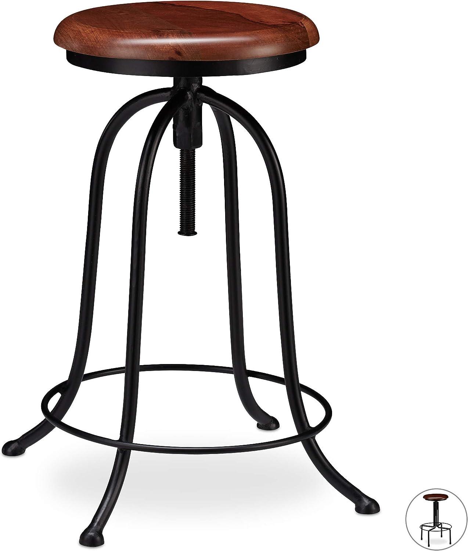 Relaxdays Taburete Cocina, Banqueta Bar, Vintage Industrial, Hierro-Madera, hasta 65 cm de Alto, Negro-Marrón, Diseño A, 65 x 48 x 48 cm