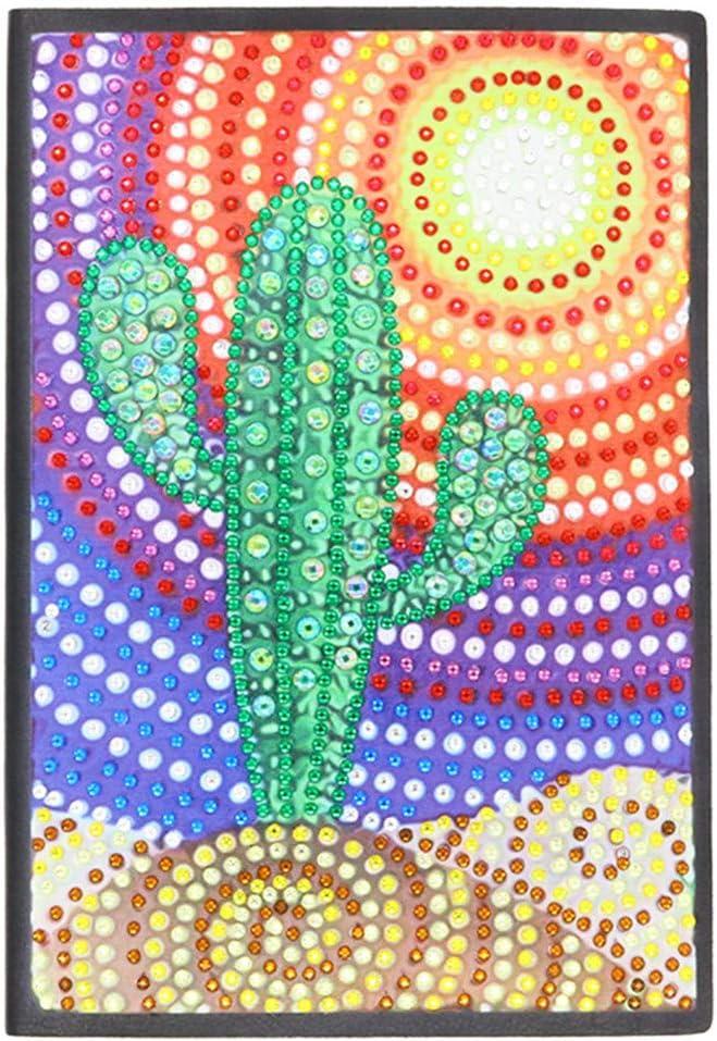 Cuaderno A5 de punto de cruz 5D con diseño de diamantes, para escribir notas y para retoques de mujeres, para adolescentes, para hombres, regalo creativo, regalo de cactus 60 hojas, 120 páginas