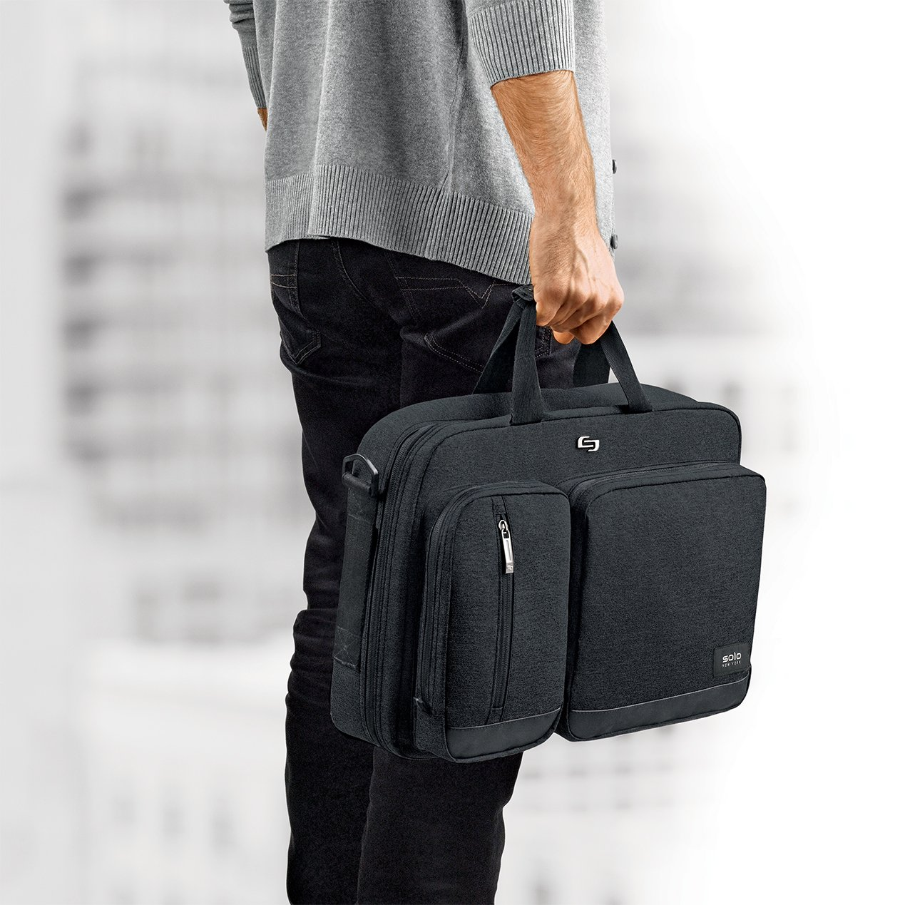 Solo Duane 15.6 Inch Laptop Hybrid Briefcase, Converts to Backpack, Grey UBN310-10
