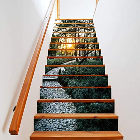 Joycaling Pegatinas de escaleras 3D Dream Forest Autoadhesivo Escalera Elevador calcomanía Escalera Pegatinas Wallpaper 13pcs Decoración de murales de Escalera extraíble: Amazon.es: Hogar