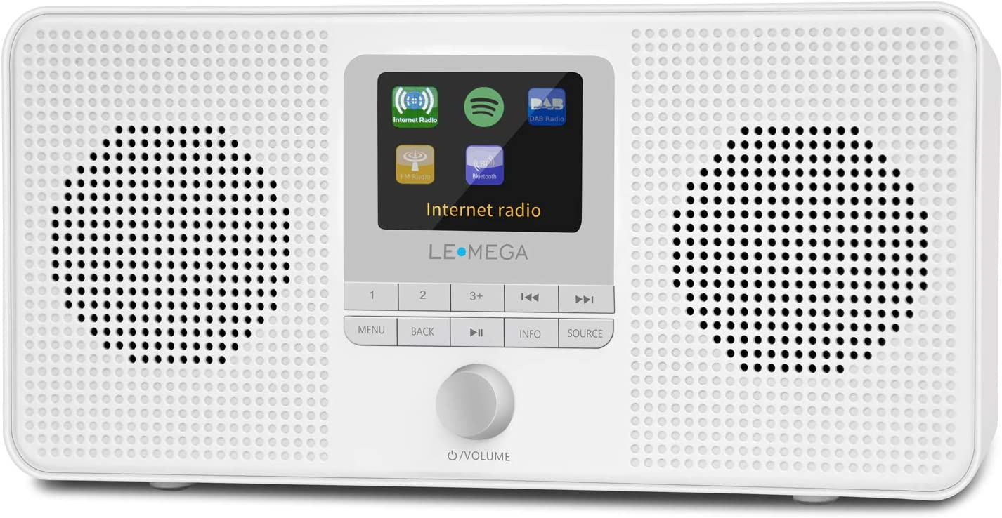 LEMEGA IR4S Portable Stereo Internet Radio,FM Digital Radio,WiFi,Spotify Connect,Bluetooth,Dual Alarms&Clock,Kitchen/Sleep/Snooze Timer,40 Pre-Sets,Headphones-White