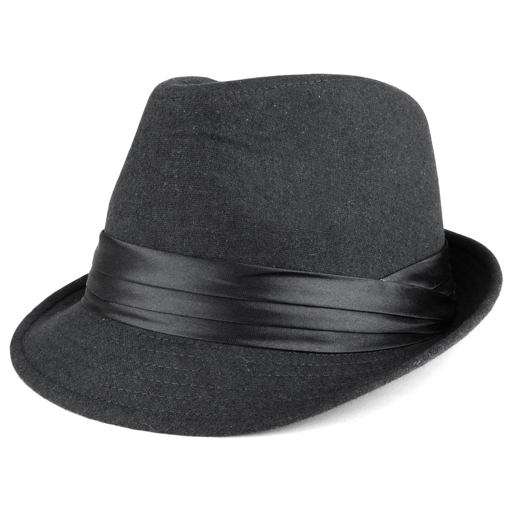 Men s Wool Felt Fedora Hat with Satin Hat Band - BLACK at Amazon Men s  Clothing store  98443691c35d