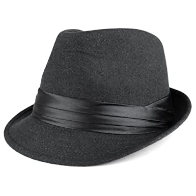 f73ea7a6c01 Men's Wool Felt Fedora Hat with Satin Hat Band - BLACK at Amazon ...