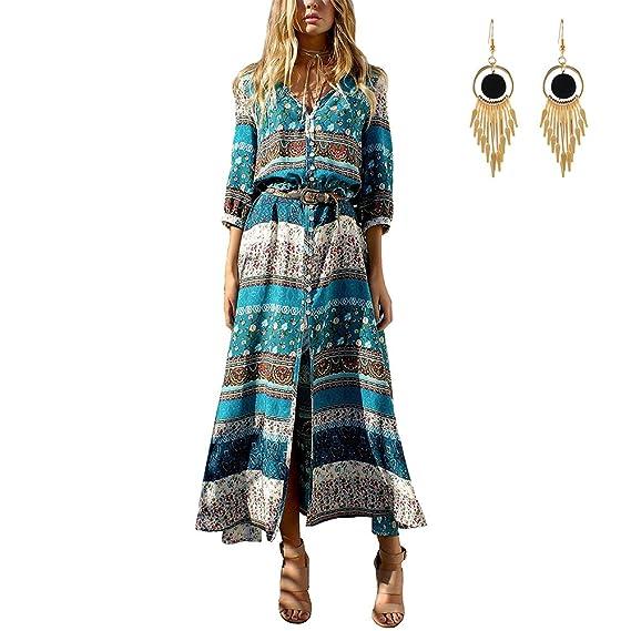 Lylafairy Vestito Lungo Donna Estivo Boho Floreale Abito  Amazon.it   Abbigliamento 1c1738312cf
