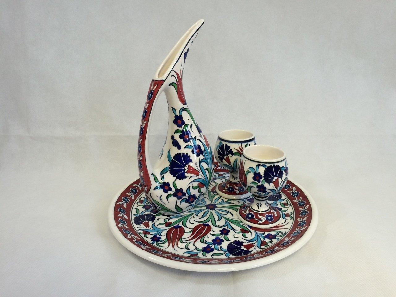 Handmade Ceramic Pelican Coffee/Tea/Wine Jug/Decanter Set: Pelican Jug 11.5''/29 cm; Plate 13''/33 cm; 2 Cups