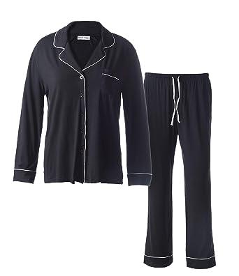 Matt Viggo Women Pyjama Set Soft Long Loungewear Button Up V-Neck Shirt and  Sleep 0cb450f1b
