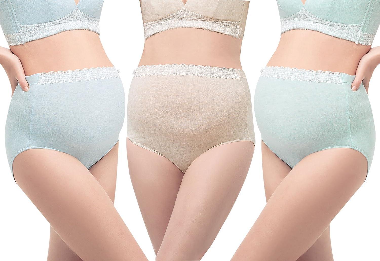 3 Lots de Culotte Femme Enceinte Taille Haute Coton Maternité Respirant Elastique Souvêtement Grossesse Confortable Bon Maintient Taille Grande Réglable S M L XL