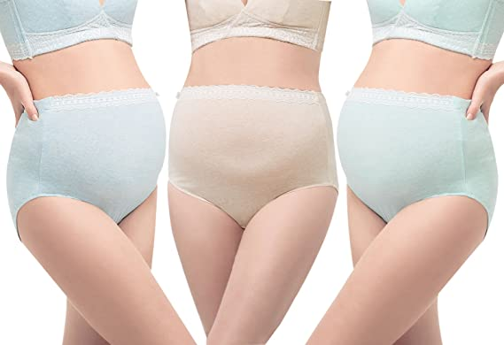d698244656372 ENJOY PREG Maternity Underwear High Waist Comfortable Cotton Pregnancy  Panties Briefs Solid Color Green + Beige