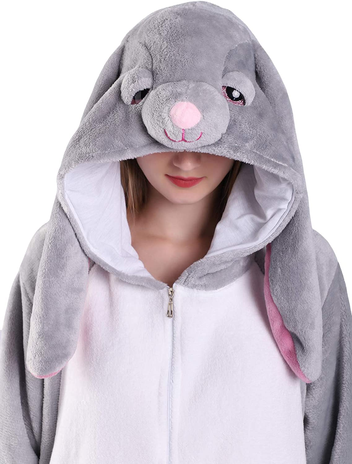 EJsoyo Adult Onesie Bunny Sleepwear Lion Animal Puppy Cartoon Costume and Teens Pajamas Unisex Christmas Halloween Cosplay