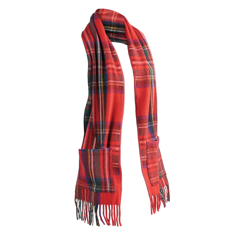 Patrick King Woollen Company Women's Merino Wool Scottish Tartan Pocket Scarf - Royal Stewart by PATRICK KING WOOLLEN COMPANY