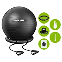 Exercise Yoga Ball,TOPELEK Exercise Ball (75cm),Anti-burst Yoga Ball for Fitness,Pilates,Core Strength,Stretching and Physical Therapy,Balance Ball with Resistance Bands,Stability Ring and Pump for Office/Home/Gym