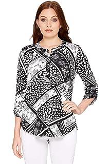 595b87db57b0 Roman Originals Women Patchwork Shirt - Ladies Smart Work Office Blouses  3 4 Length Sleeves