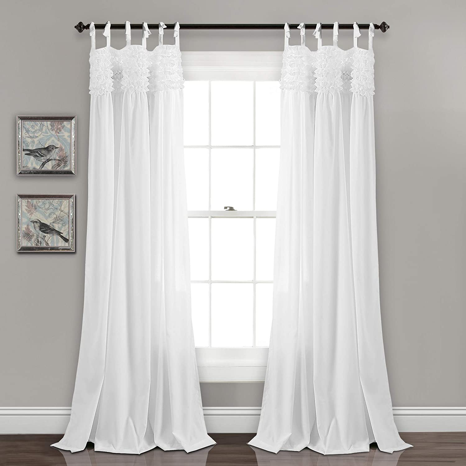 "Lush Decor Lydia Curtains Ruffle Window Panel Set for Living, Dining, Bedroom (Pair), 84"" L, White"