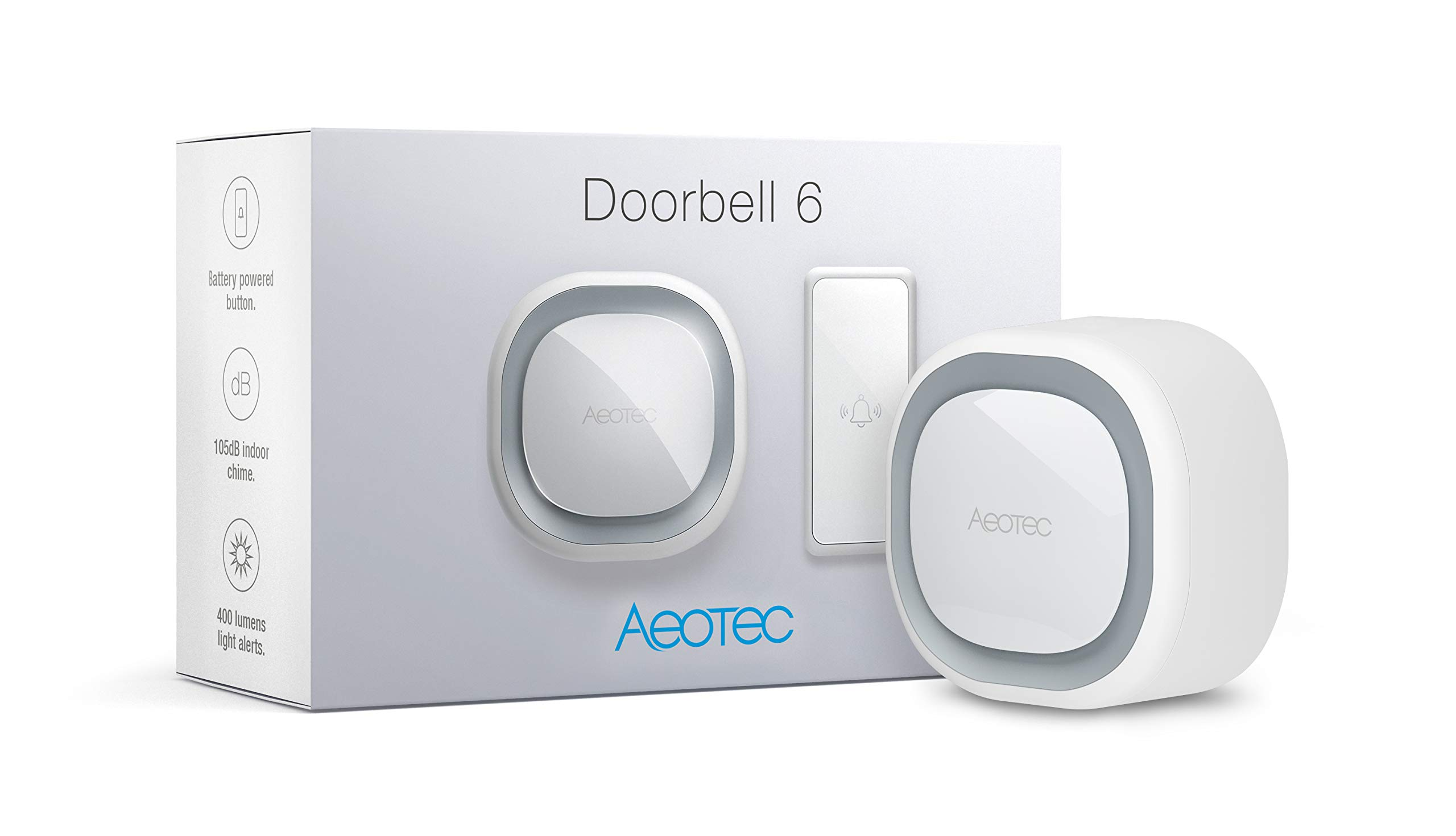 Aeotec Z-Wave Doorbell 6 with Outdoor Button, Z-Wave Plus, Wall-Mounted Sound & Light Ring, Smart Home Wireless Chime, 110 dB, Audio and Visual Alerts Screen reader support (Doorbell 6 with Button)