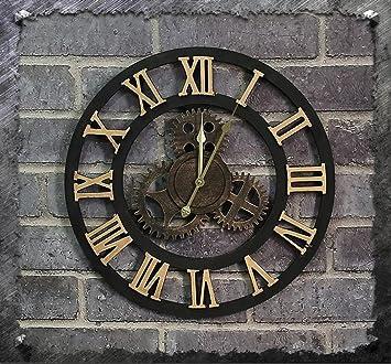 Farbe : #1 ZWL Retro Do Old Gear Wanduhr Woody Kreative Wanduhr Wohnzimmer Bar Industrial Winds Uhren und Uhren Ornamente Wanduhr fashion