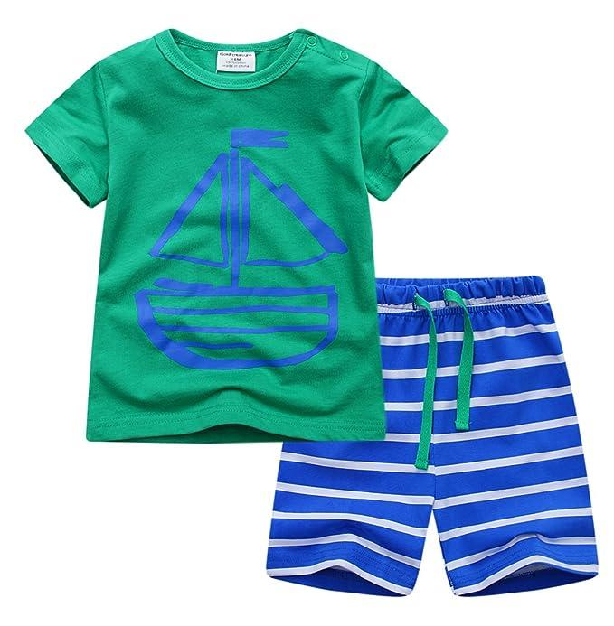 Backbuy Chicos Pijamas Sets Niños Verano 2 Piezas Pijamas Niños 100% Algodón Manga Corta Velero