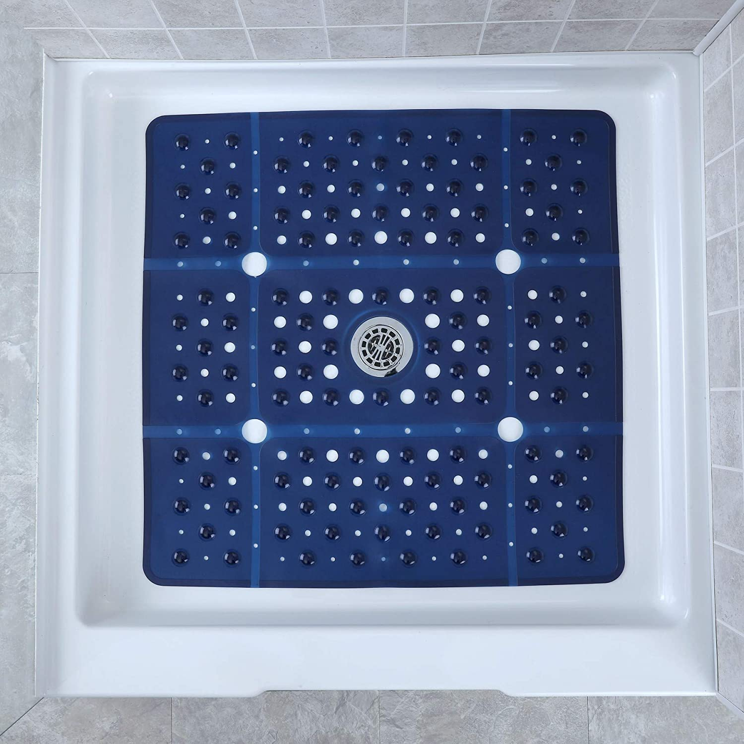 SlipX Solutions Extra Large Square Shower Mat Provides 65% More Coverage Non Slip Traction 27 Sides 100 Suction Cups Great Drainage Navy
