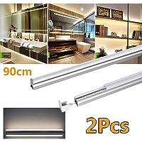 T5 LED tube réglettes 2pcs lumineuses led Réglette, 60cm 90cm 120cm Lumière Tube pour l'intérieur la maison, le bureau, la cuisine, la chambre (Blanc Naturel, 90cm)