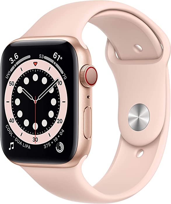 Apple Watch Series 6 (GPS + Cellular, 44mm) - Gold Aluminum Case with Pink Sport Band (Renewed)