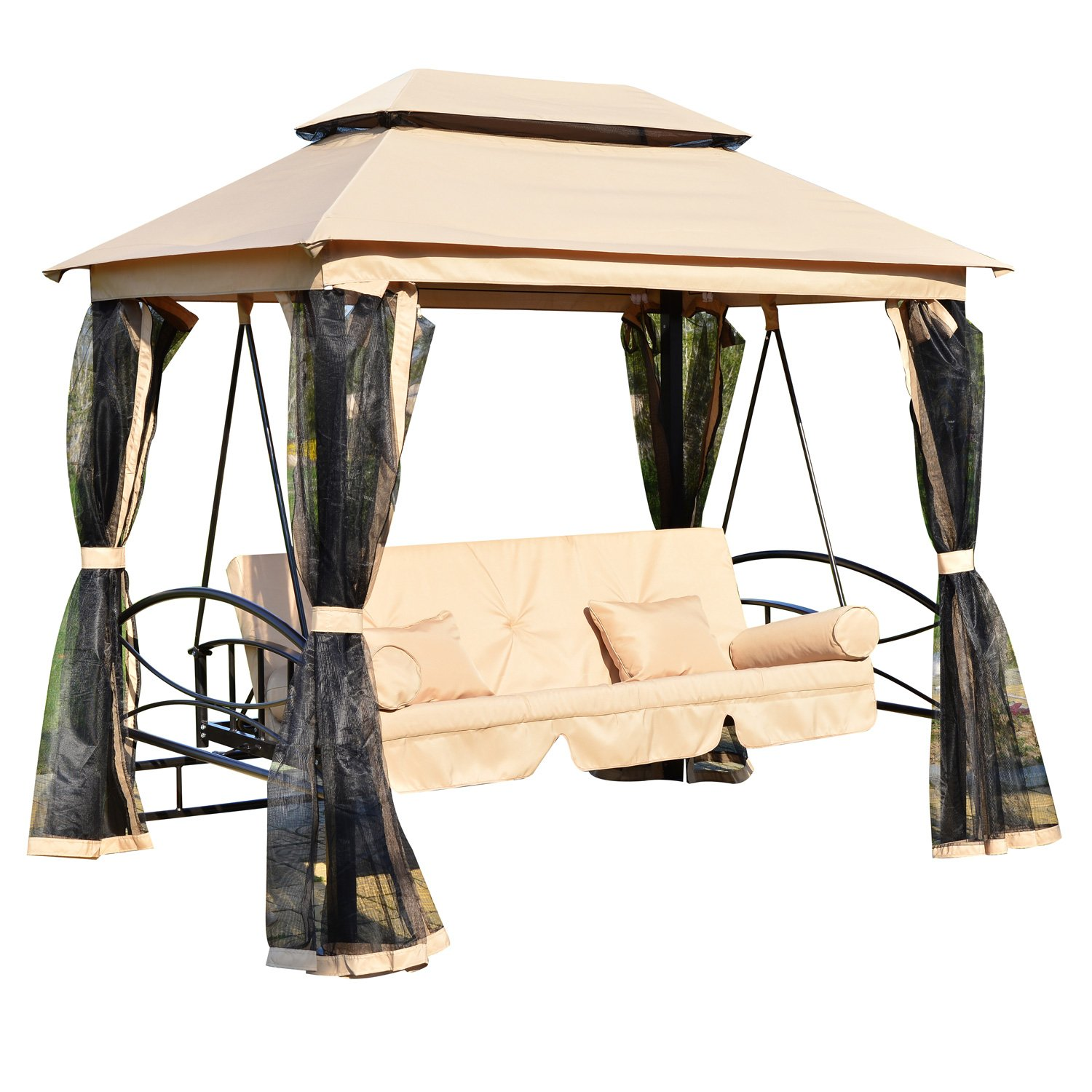 amazoncom outsunny outdoor 3 person patio daybed canopy gazebo swing tan with mesh walls patio lawn u0026 garden