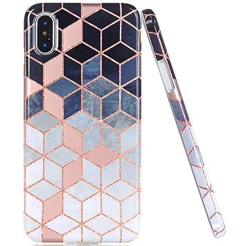 Jaholan Coque Iphone X Coque Iphone Xs Shiny Rose Gold Gradient Cube Marbre Design Coque Tpu Gel Housse Etui Protection Ultra Fine Mince Leger Case