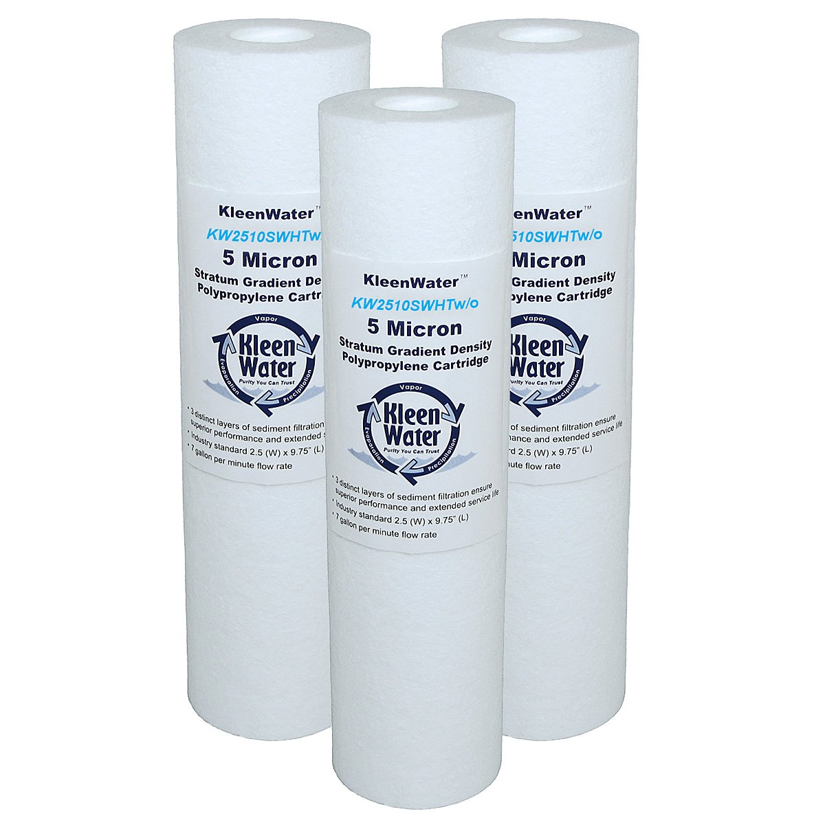 KleenWater KW2510SWHT Replacement High Temperature Polypropylene Filter Cartridges, Dirt Rust Sediment Filtration, No Scale Inhibitor, Set of 3
