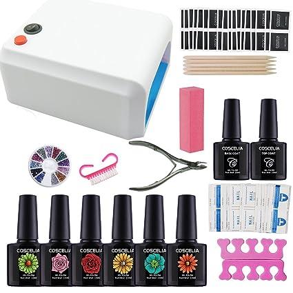Elegir Cualquier 6 Colores de Esmaltes Coscelia Lámpara Secadora 36W Secador de Uñas 6pc Esmaltes de