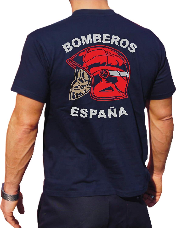 fuego1 T-Shirt/Camiseta (Navy/Azul) Bomberos ESPAÑA, Casco Rojo, Bandera española: Amazon.es: Ropa y accesorios