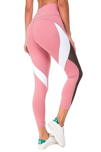 e5da7df333533 QUEENIEKE Women Yoga Pants Blocking Mesh Workout Color Running Leggings  Tights Size XS Color Begonia Pink