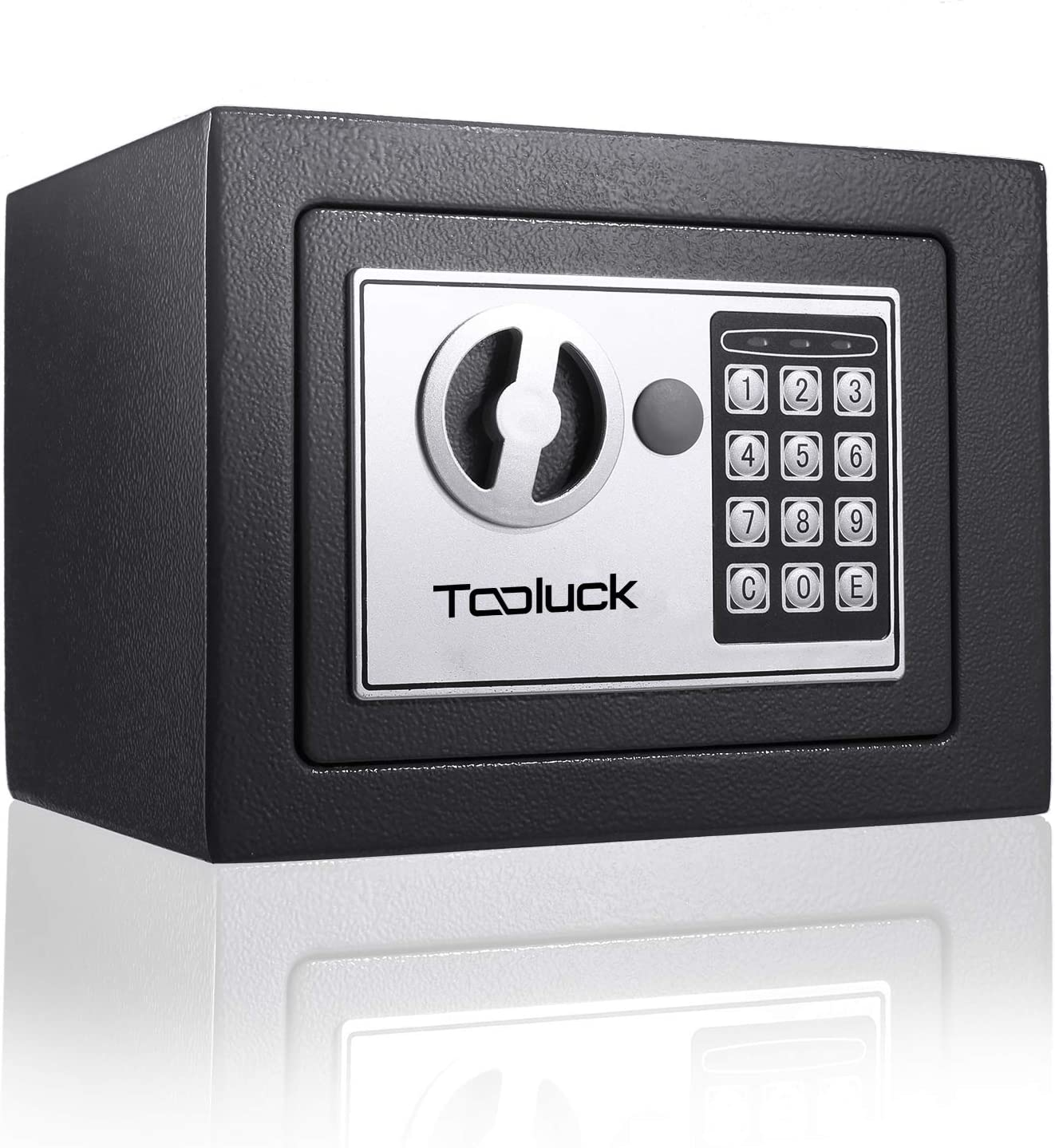 Tooluck Safe, Lock Box, Electronic Digital Safe, Keypad Safe Lock Box with Keys, Money Box and Safe Box for Cash Gun Jewelry Home Office Hotel Security Storage (Black)