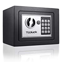 TOOLUCK Safe Box, Digital Security Safe, Fireproof Keypad Safe Lock Box with Keys, Money Box and Deposit Box for Cash…