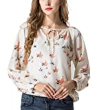 VESNIBA Women ''s Fashion Elegant Bird Print Blouse Long Sleeve Casual Slim Shirts