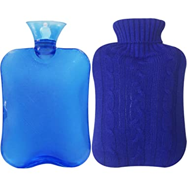 Attmu Classic Rubber Transparent Hot Water Bottle 2 Liter with Knit Cover - Blue