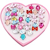 24 PCS Little Girls Crystal Adjustable Rings Princess Dress Up Play Jewelry Rings Toys for Kids Children Birthday Party Supplies with Heart Shaped Pink Box