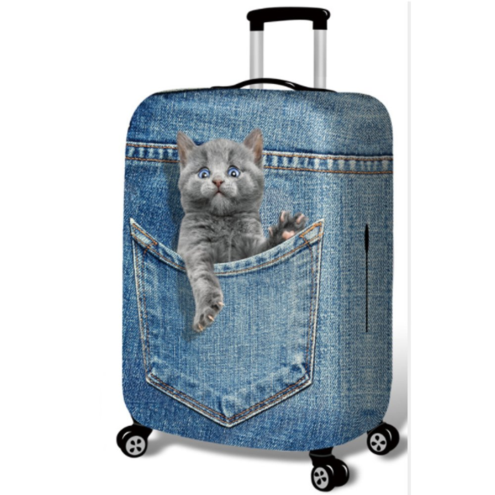 Washable Travel Luggage Cover Funny Cartoon 3D Denim Animals Suitcase Protector