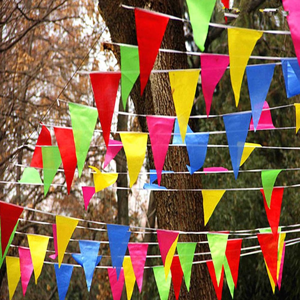 Enjoygoeu Guirlande de fanions Multicolores en Tissu Durable 80 m 150 Drapeaux pour Anniversaire Mariage Jardin int/érieur ext/érieur