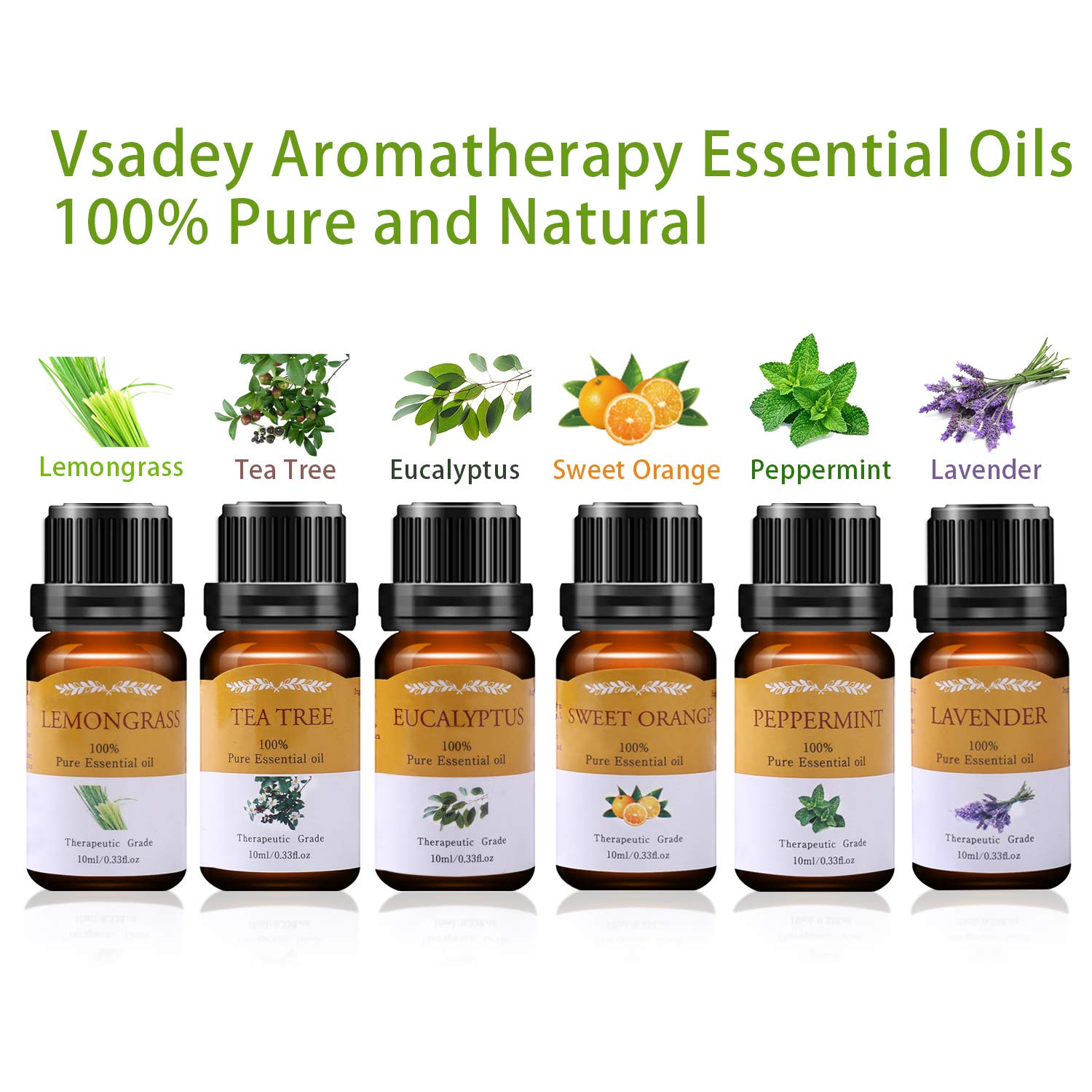VSADEY Top 6 Essential Oils Organic Set, Therapeutic Grade 100% Pure Aromatherapy Anxiety Relief Diffuser Oils Gift Blends 6/10ml (Lavender, Sweet Orange, Peppermint, Lemongrass, Tea Tree, Eucalyptus)