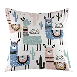 oFloral Alpaca Home Decorative Pillowcase with Llama Cactus Throw Pillow Case Square Cushion Cover for Sofa Couch Bedroom Living Room Dorm Decoration 18 x 18 Inch Green Blue Pink