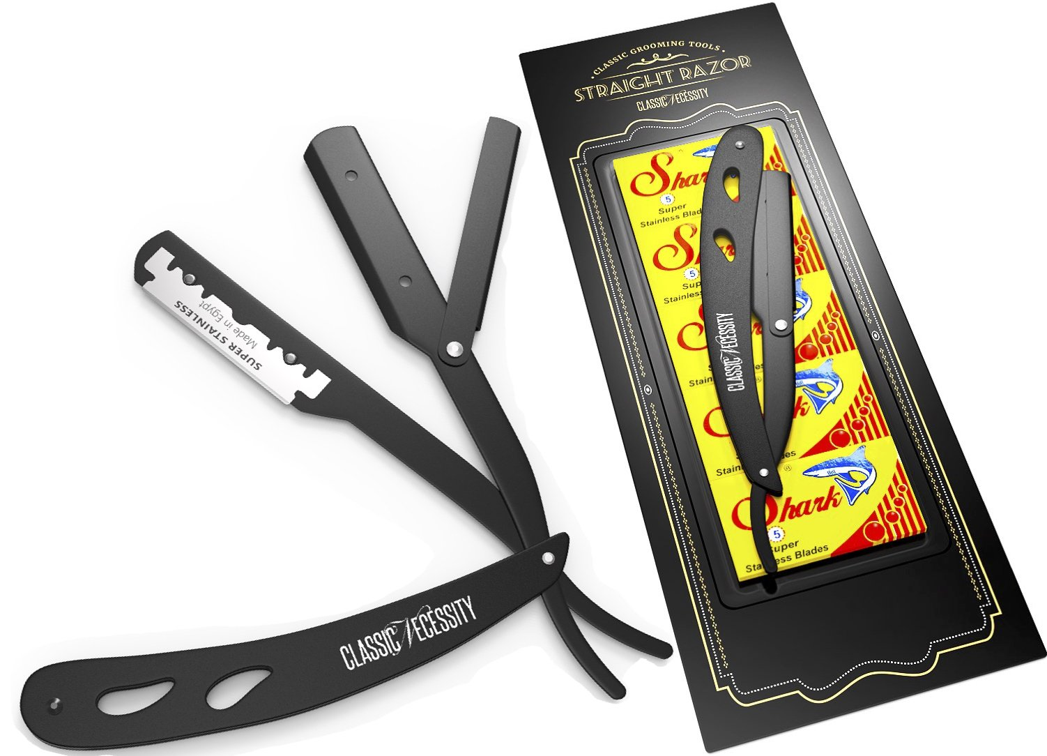 Straight Razor - Shaving Kit 100 Shark Razor Blades Single for Straight Edge Razor that break in 2 from 50 Double Edge Blades (100 Single Edge Blades + Straight Razor)