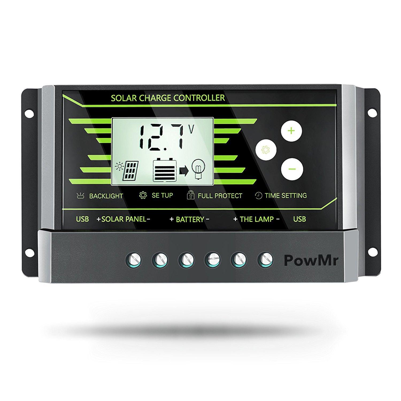 PowMr 30A solar charge controller USB, Solar Panel Charge Controller 30a 12V/24V Solar Controller with Dual USB LCD Display (30A)