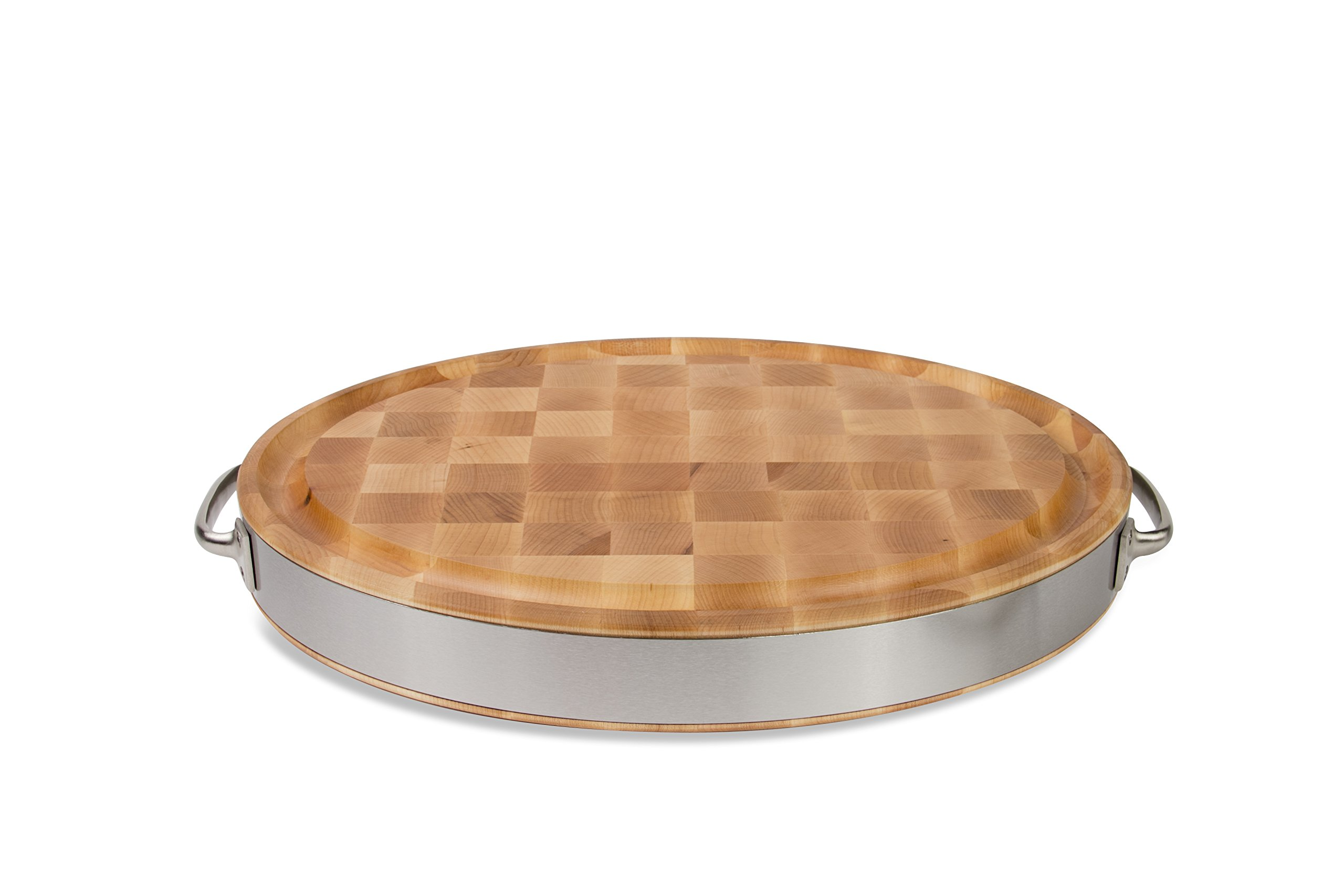 John Boos Maple Wood End Grain Reversible Oval Cutting Board with Juice Groove, Stainless Steel Band and Handles, 20 Inches x 15 Inches x  2.5 Inches