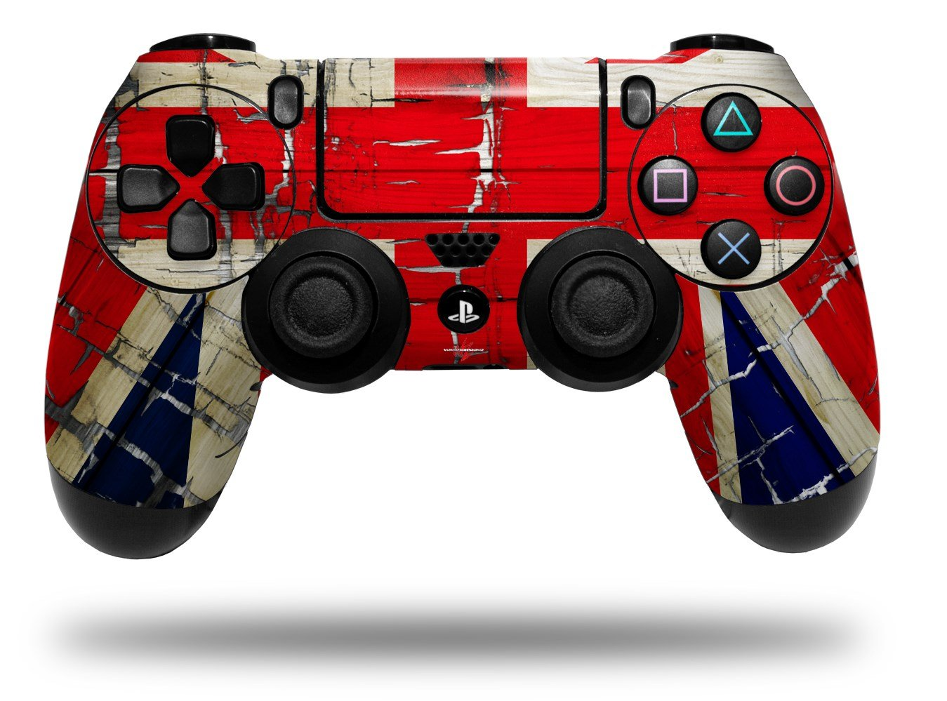 WraptorSkinz Skin compatible with Sony PS4 Dualshock Controller PlayStation 4 Original Slim and Pro Painted Faded and Cracked Union Jack British Flag (CONTROLLER NOT INCLUDED)