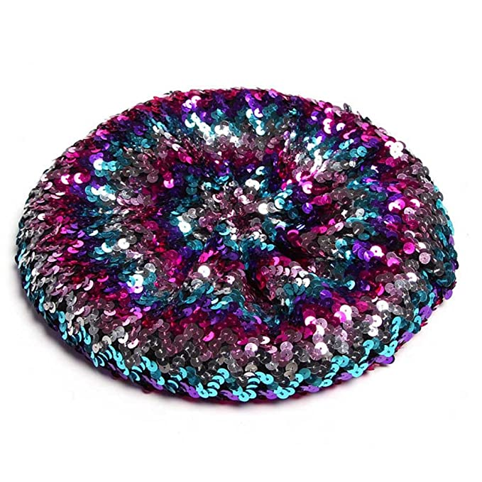 Hippie Hats,  70s Hats Funbase Women Bling Sequins Beret Hat Sparkly Shining Beanie Cap For Dancing Party $9.99 AT vintagedancer.com